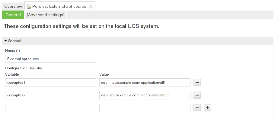 Example UCR policy for configuring an apt source