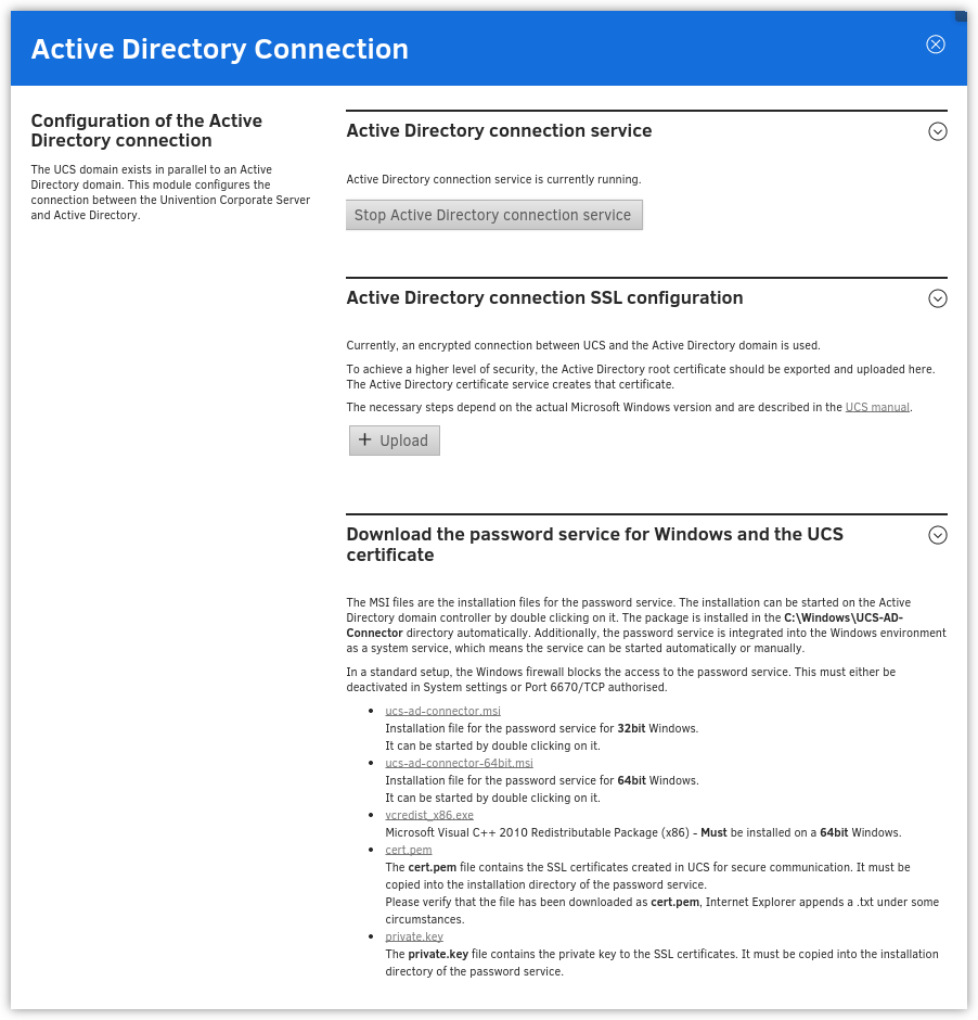 Administration dialogue for the Active Directory Connection