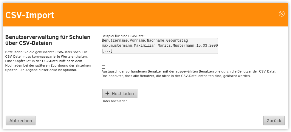 CSV-Import: Upload der CSV-Datei