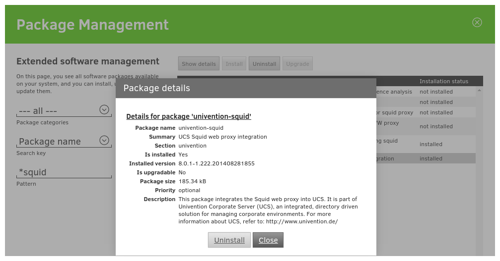 Installing the package univention-squid in Univention Management Console