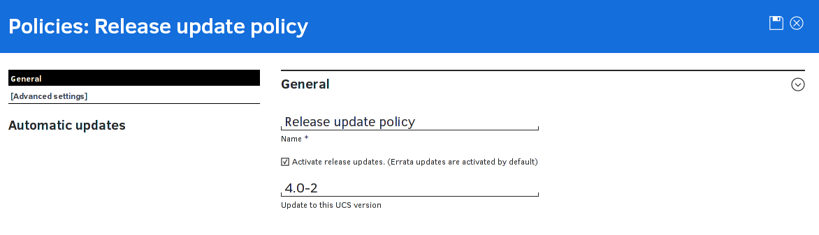 Updating UCS systems using an update policy