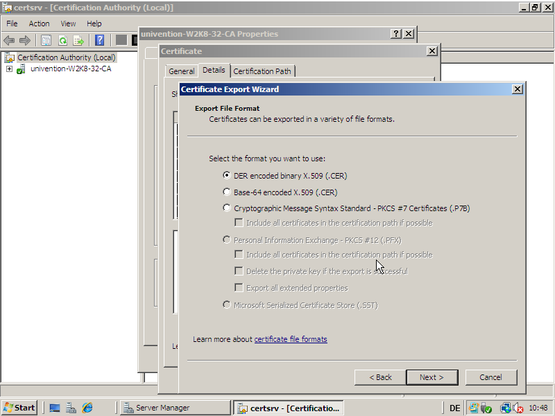 Exporting the root certificate on Windows 2008