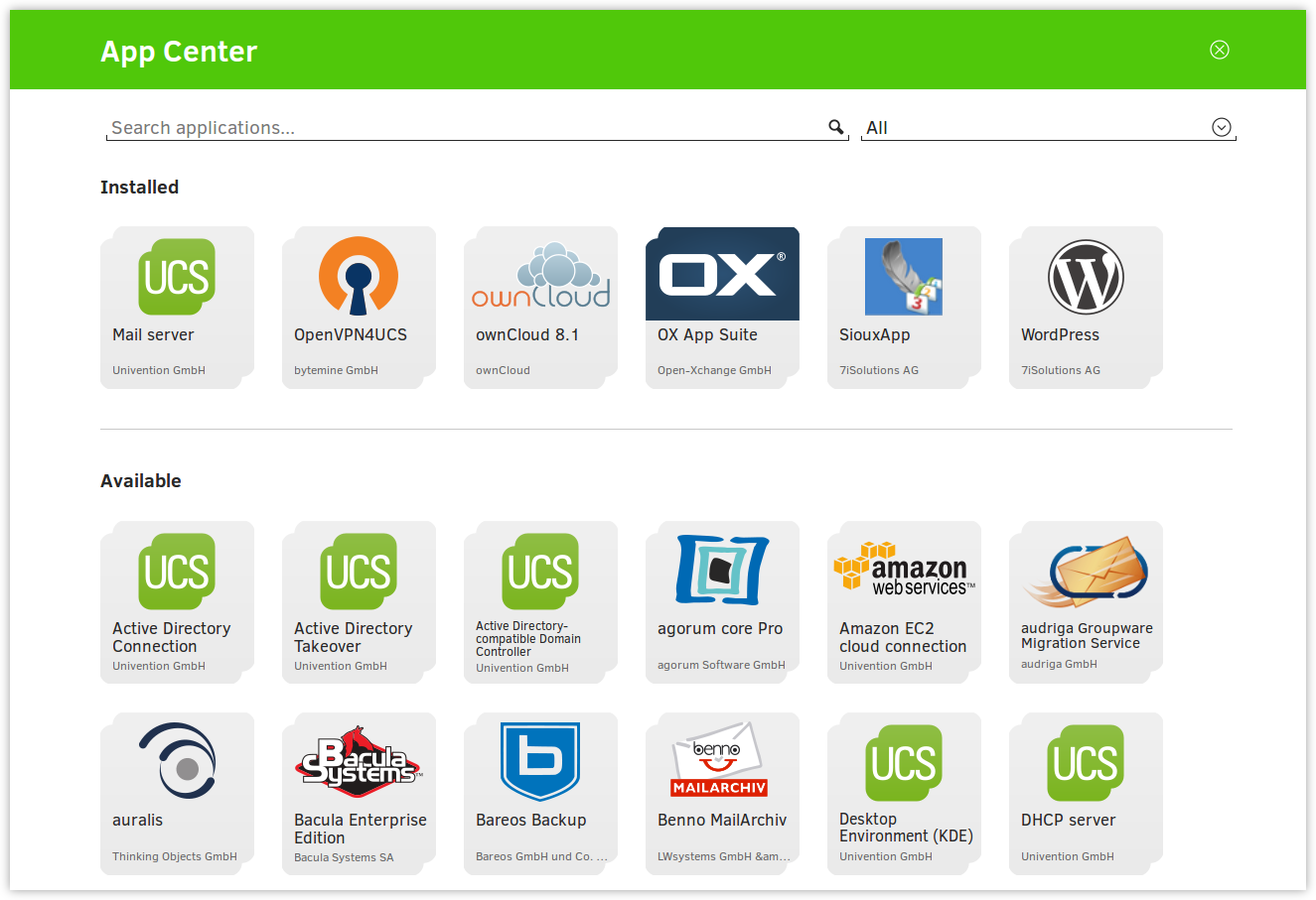 Overview of applications available in the App Center