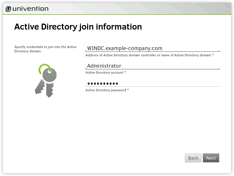 Information on the Active Directory domain join