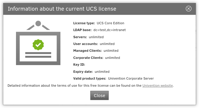 Displaying the UCS license
