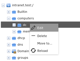 Editing LDAP container settings