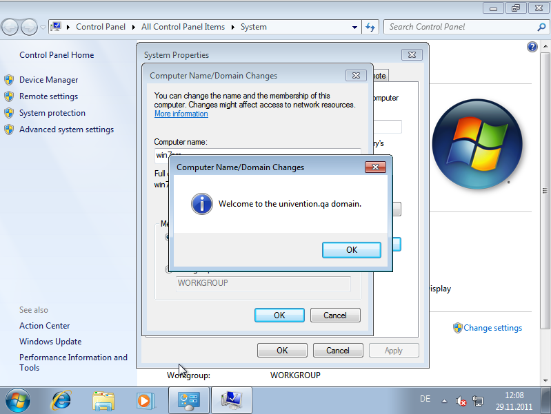 Domain join of a Windows 7 system