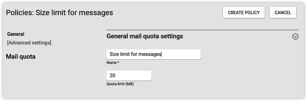 Policy-based configuration of the maximum mail size