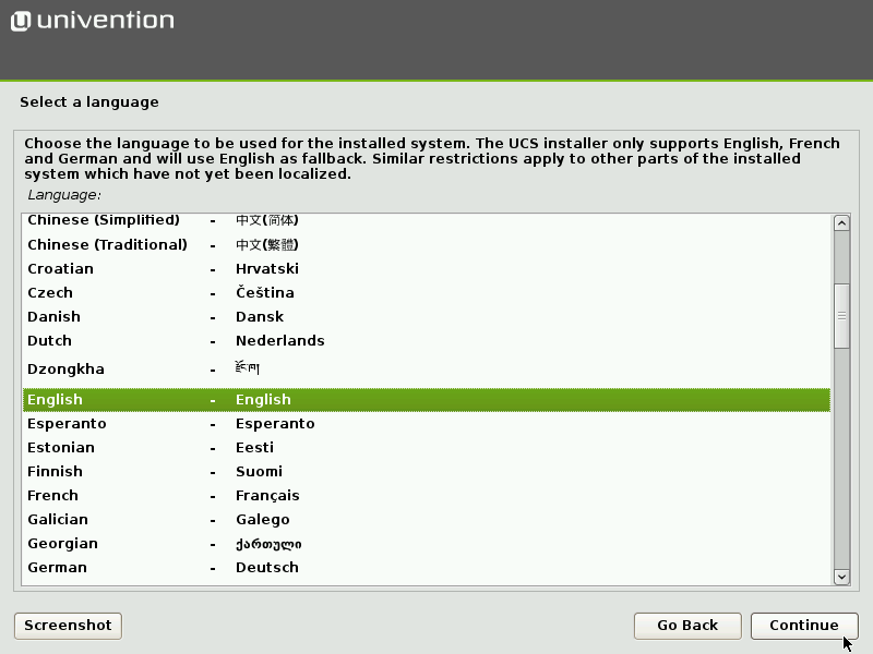 Selecting the installation language