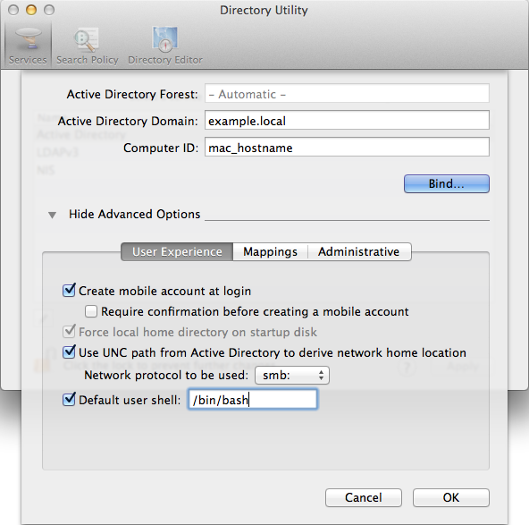 Domain join of a Mac OS X system