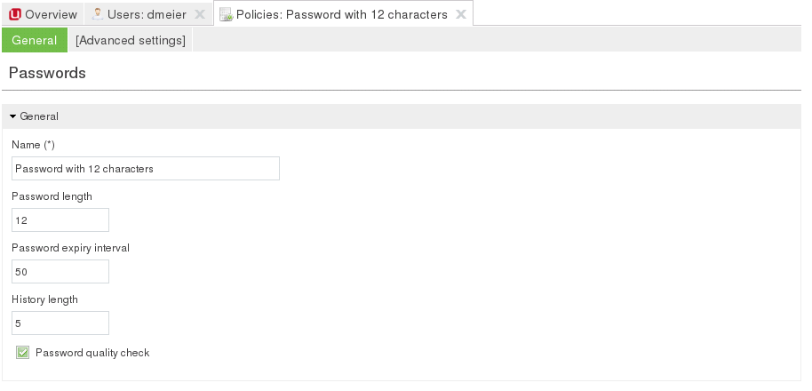 Configuring a password policy