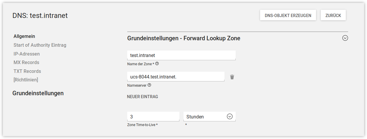 Konfiguration einer Forward Lookup Zone in UMC