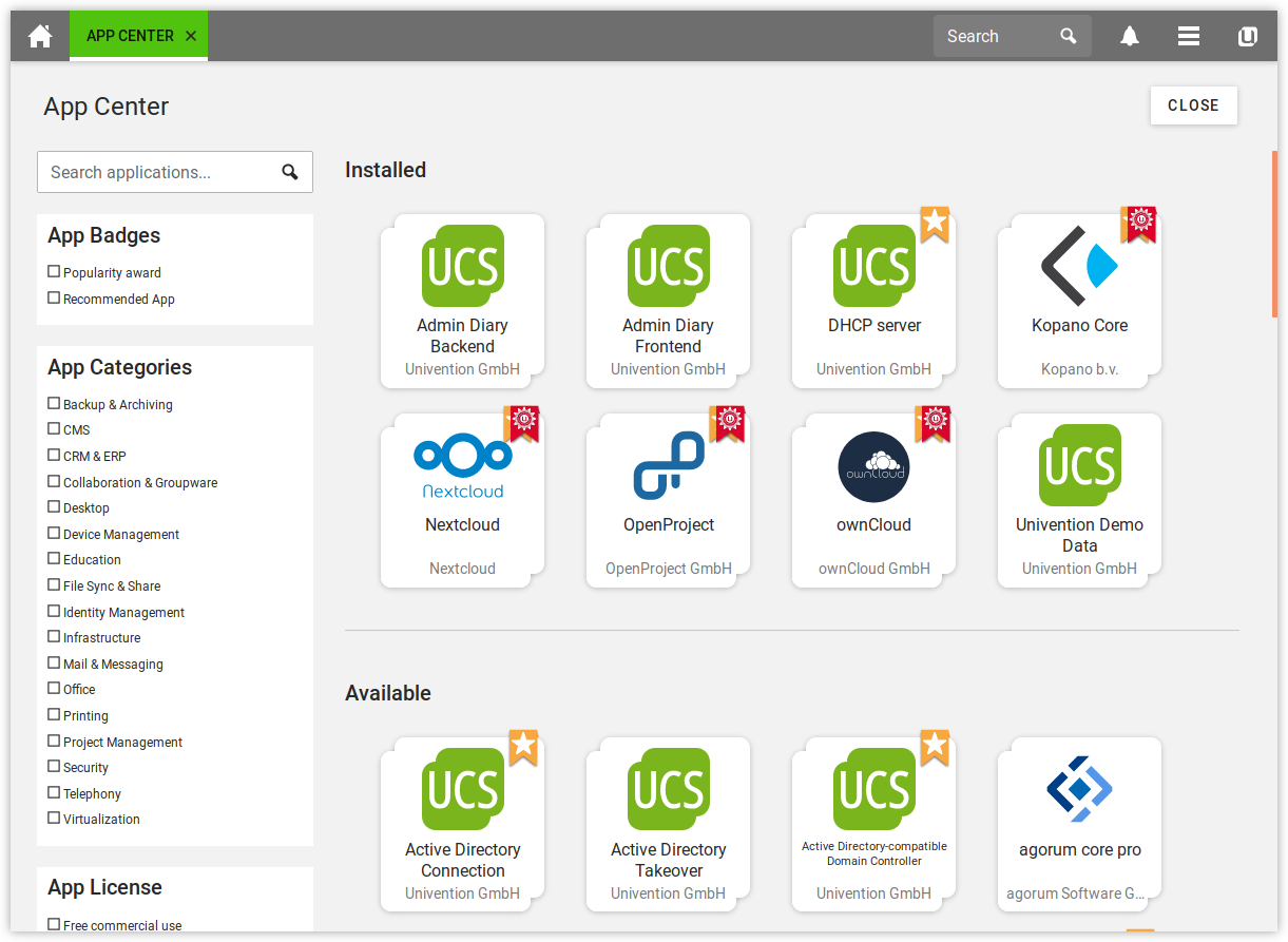 Selection of UCS components in the App Center