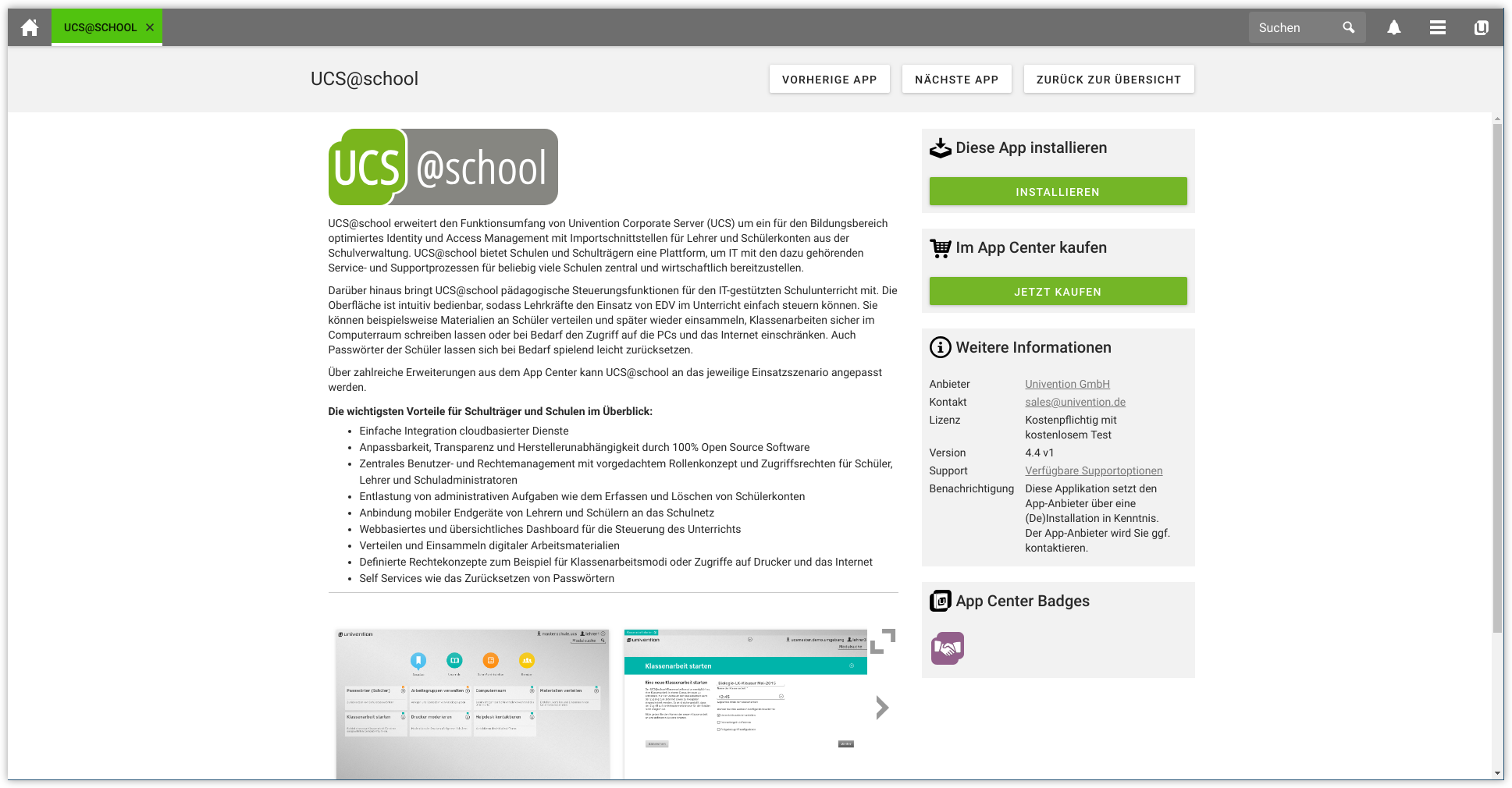Installation von UCS@school über das Univention App Center