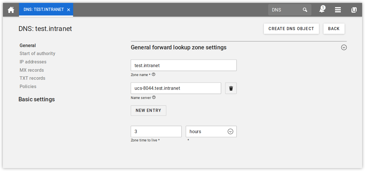 Configuring a forward lookup zone in UMC
