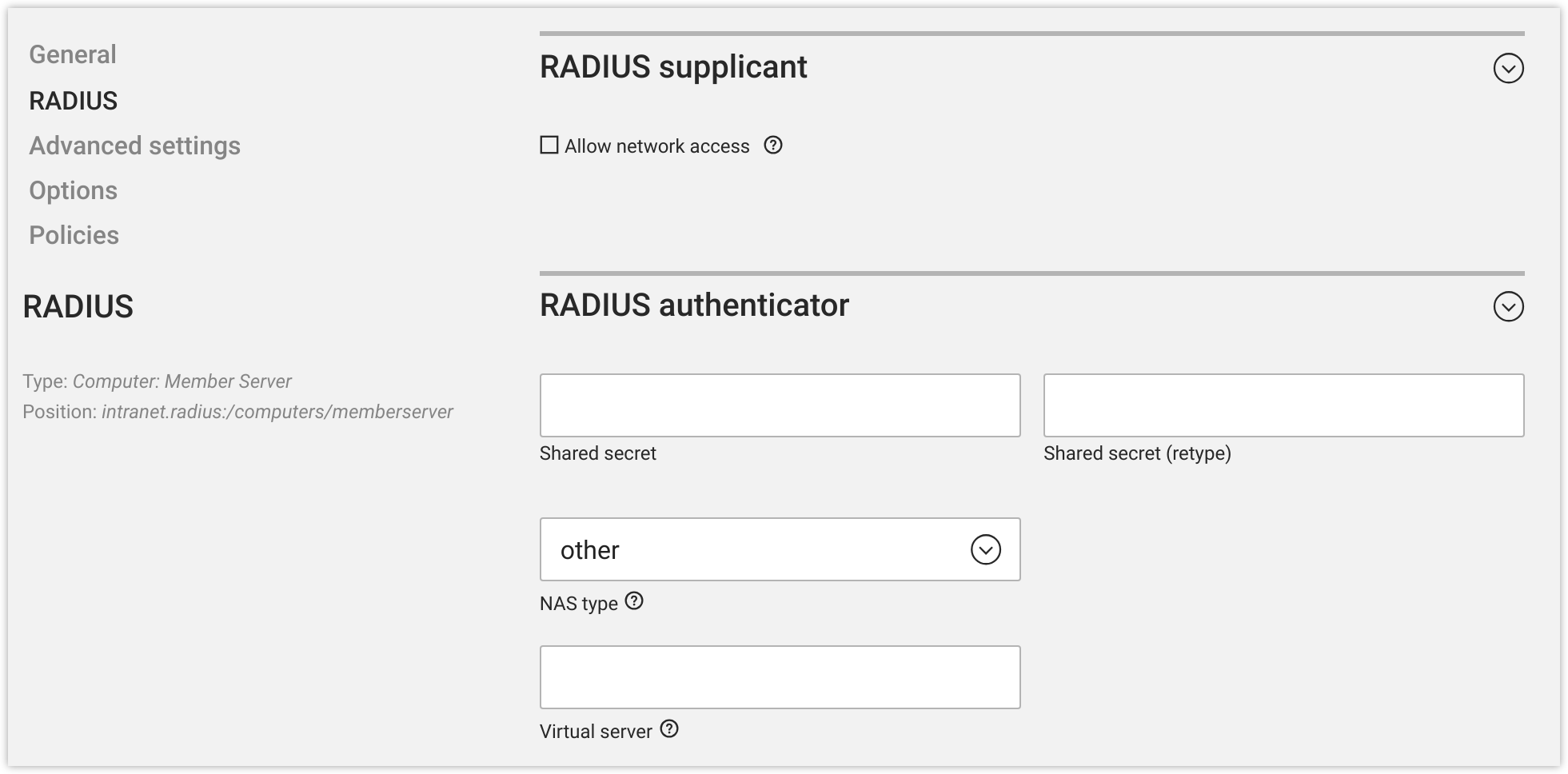 RADIUS authenticator options