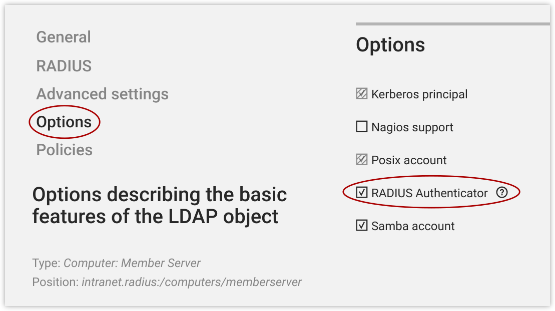 RADIUS option
