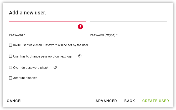 Password setting for a new user